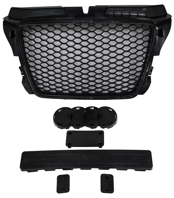 Front Grille RS Style Black With Gloss Black Surround for AUDI A3