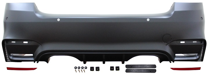 Rear Bumper M4 Style With PDC With Reflectors Twin Exhaust Exit Twin Tail Pipes for BMW 3 SERIES