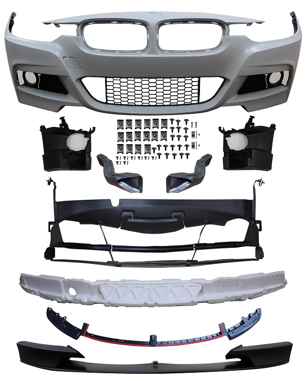 Replacement Car Parts for Bmw 3 series Front bumper m peformance style with grille/brake ducts and spoiler