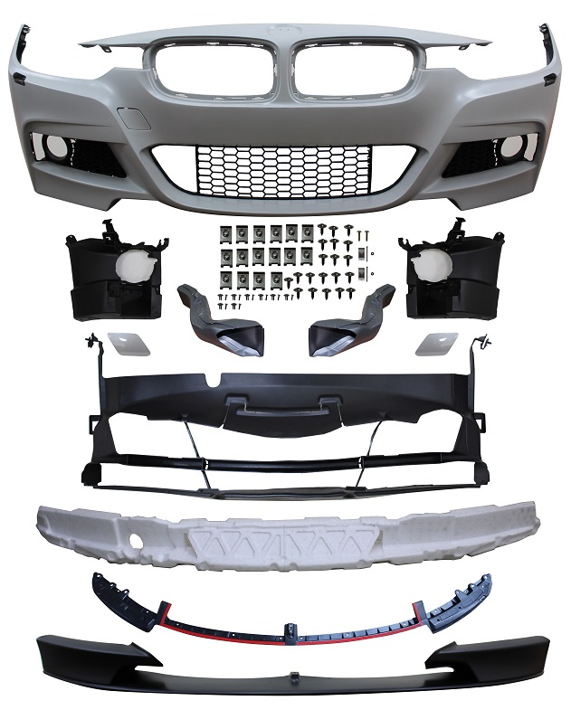 Replacement Car Parts for Bmw 3 series Front bumper m performance style with wash/grille/brake ducts/spoiler