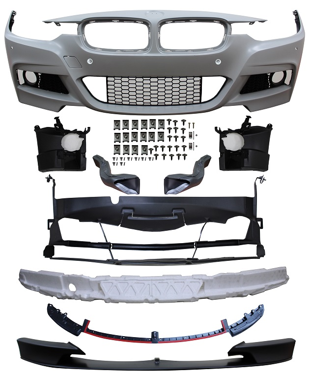 Replacement Car Parts for Bmw 3 series Front bumper m performance style w/pdc/grilles/brake ducts/spoiler