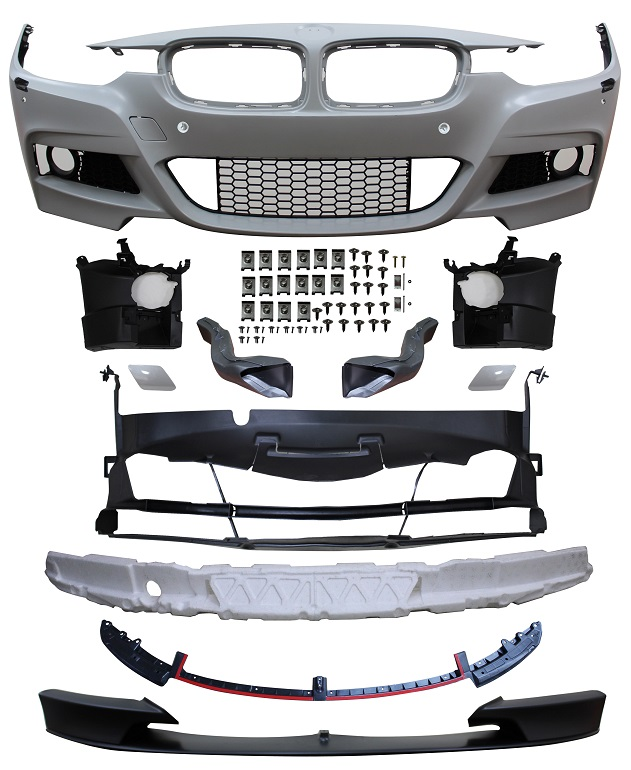Replacement Car Parts for Bmw 3 series Front bumper m performance style w/pdc/wash/grille/brake ducts/spoiler