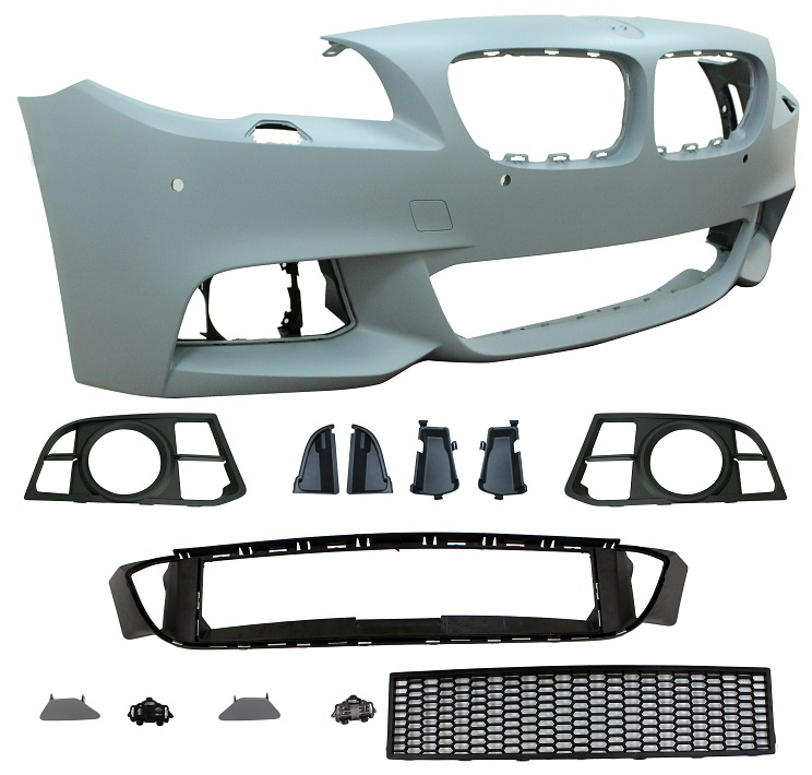 Replacement Car Parts for Bmw 5 series Front bumper m sport style with pdc/wash with grille with spot holes
