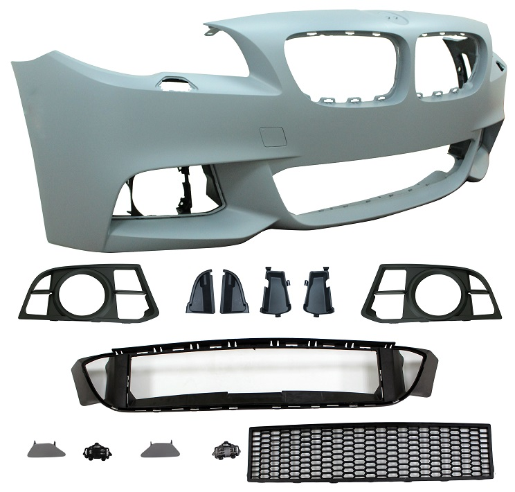 Replacement Car Parts for Bmw 5 series Front bumper m sport style with wash with grilles with spot holes