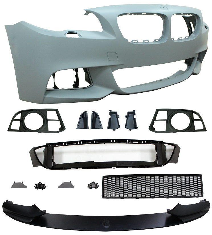 Replacement Car Parts for Bmw 5 series Front bumper m performance style with wash with grilles with spoiler w/spots