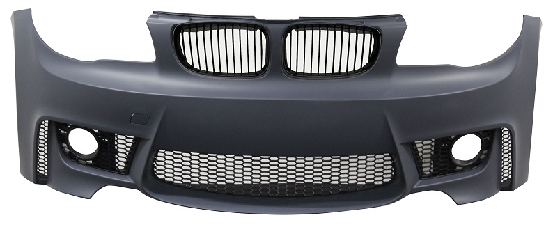 Front Bumper Primed 1M Style With Grilles With Spotlight Surrounds for BMW 1 SERIES