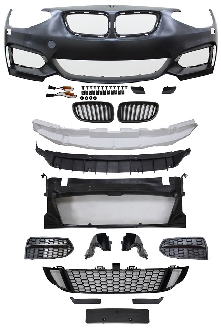 Replacement Car Parts for Bmw 1 series Front bumper m235 style with headlight wash with grilles with brake ducts