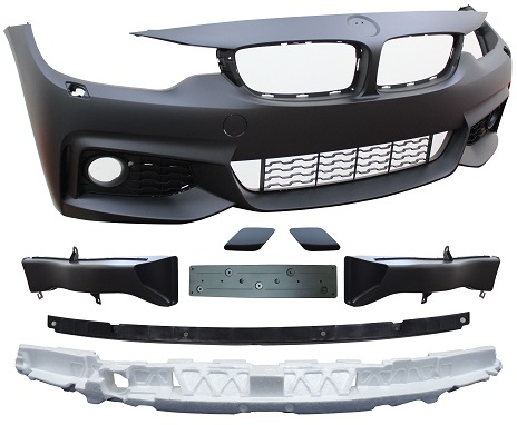 Replacement Car Parts for Bmw 4 series Front bumper m sport style with wash with grilles/brake ducts with bracket/absorber