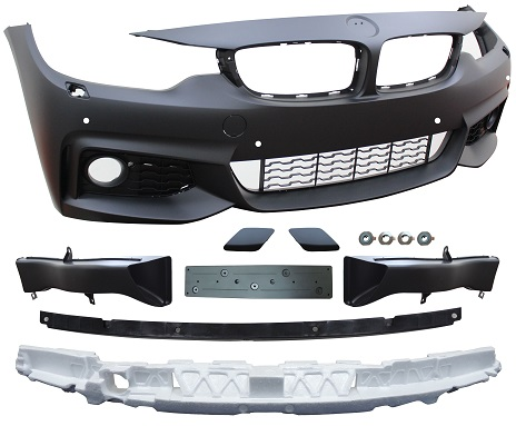 Replacement Car Parts for Bmw 4 series Front bumper m sport style with pdc/wash w/grilles/brake ducts w/bracket/absorber