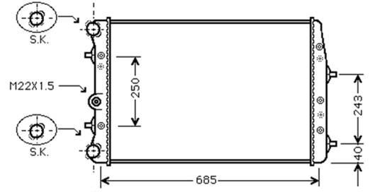 RADIATOR 1.2 6V 07>08 1.2 12V/1.4 16V/1.6 8V MAN +AC 1.9SDi 02>06 TDi 02>08 for SEAT IBIZA