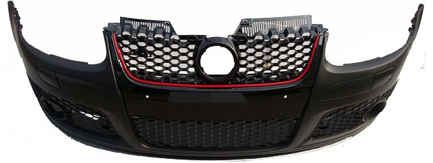 Front Bumper GTI Style With Grille Black/Red Moulding With Grilles for VOLKSWAGEN GOLF